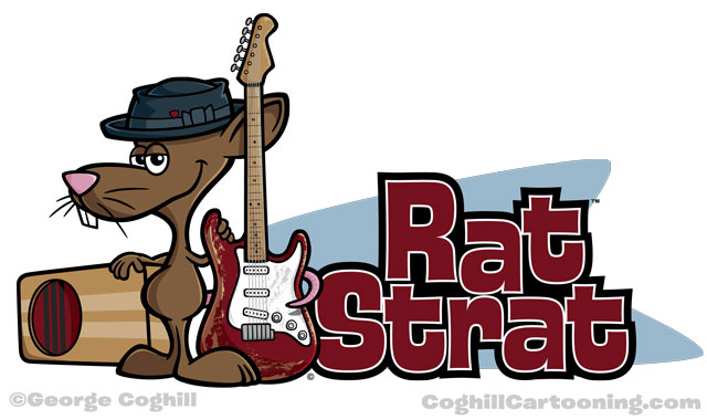 Cartoon mouse with guitar logo illustration
