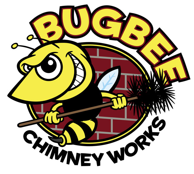 Hornet/Bee Cartoon character logo for Bugbee Chimney Works