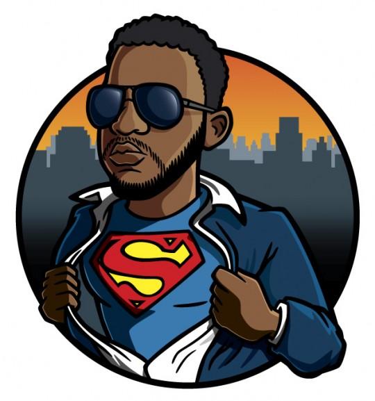 Superman cartoon portrait illustration
