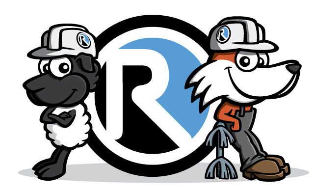 Fox & sheep cartoon characters with Reinhart Hydrocleaning logo