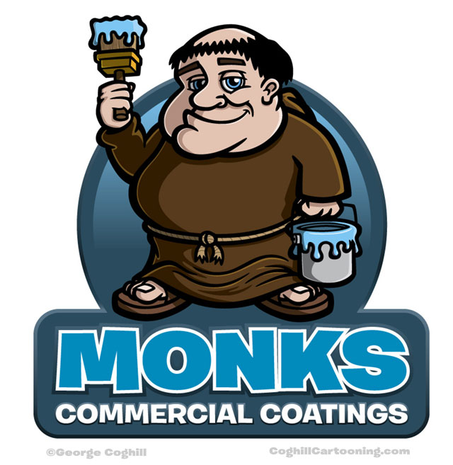 Monk house painter cartoon character logo illustration