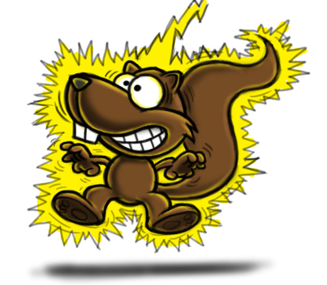 Electrocuted squirrel cartoon character color sketch