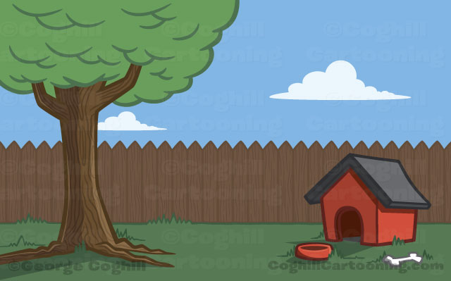 Cartoon backyard with doghouse illustration.