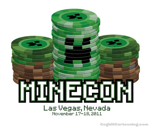 Minecraft Creeper poker chip stack illustration
