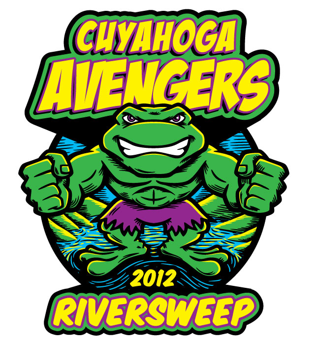 Cartoon frog as The Hulk for River Sweep 2012