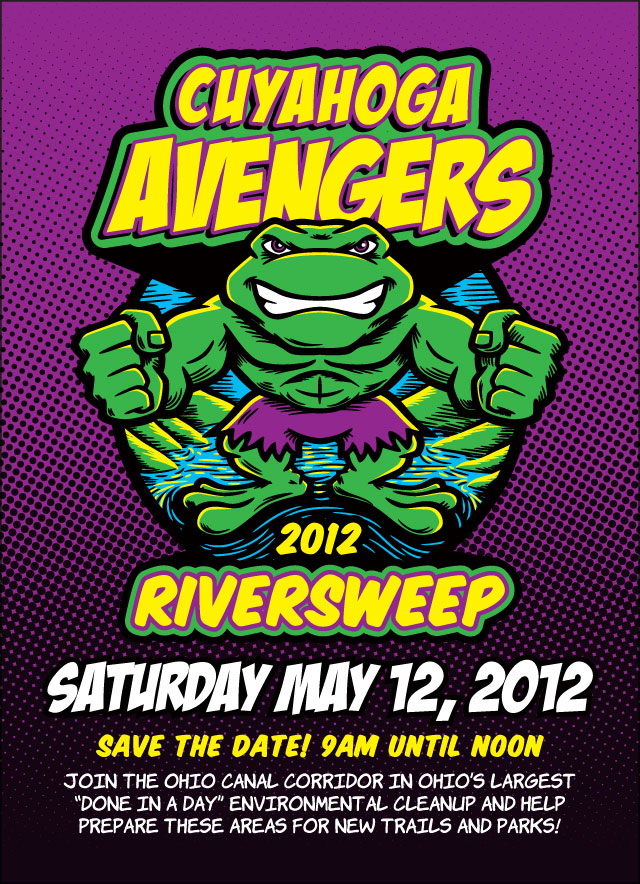 Hulk frog Cuyahoga Avengers cartoon postcard design River Sweep 2012