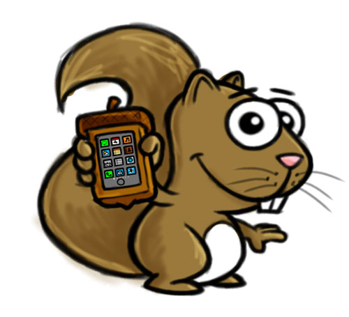 Cartoon squirrel with acorn iPhone case art sketch