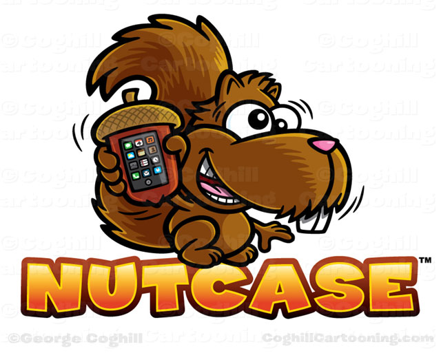 Cartoon squirrel with acorn iPhone case logo design