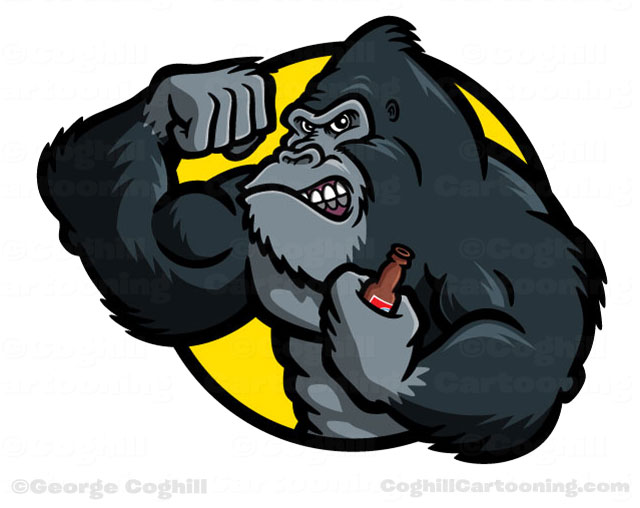 Gorilla bodybuilder cartoon character vector art illustration.