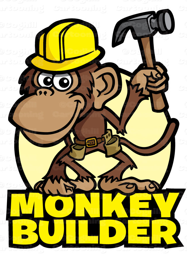Cartoon monkey construction worked character & logo art
