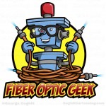 Cartoon robot character logo - Fiber Optic Geek by George Coghill