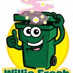 Garbage can cartoon logo & character - Wheelie Fresh