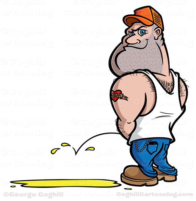 Redneck/hillbilly trucker peeing cartoon character by George Coghill