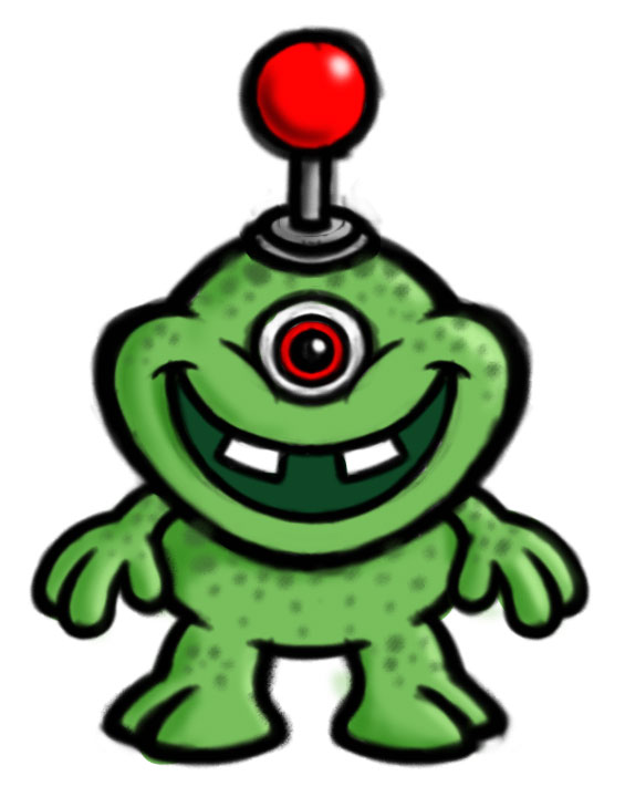 Zuhu cartoon monster/creature character color sketch - green.