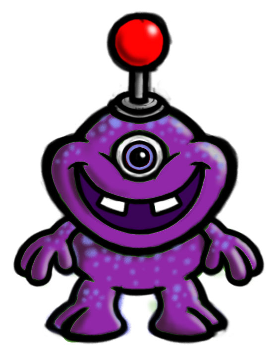 Zuhu cartoon monster/creature character color sketch - purple.