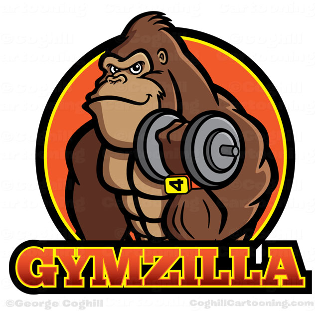 Gorilla Bodybuilder Cartoon Logo Gymzilla by George Coghill