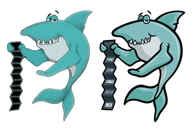 Shark cartoon character illustration art by George Coghill