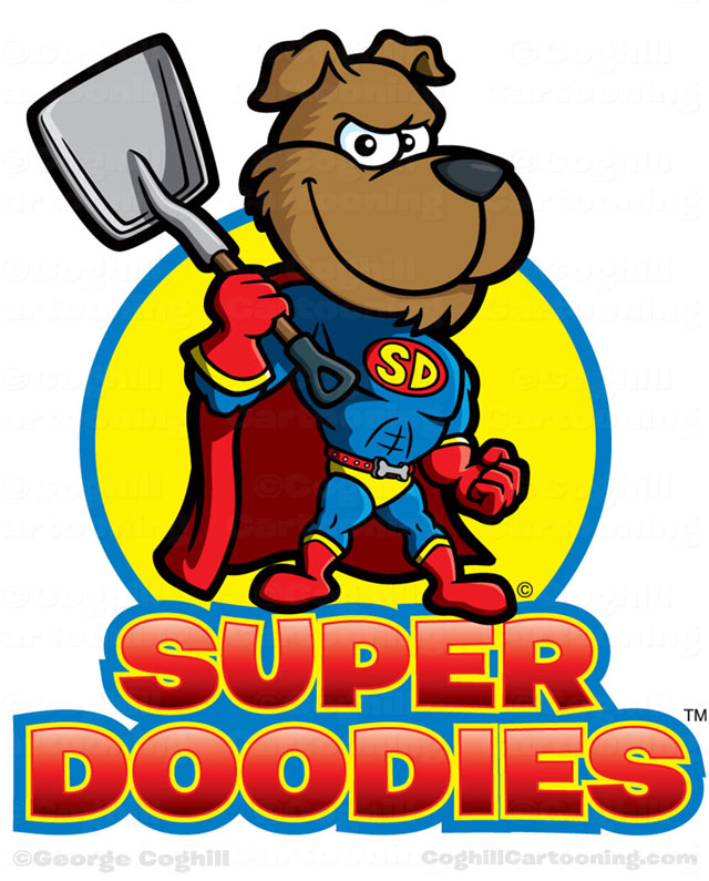 Superhero dog cartoon logo for Super Doodies