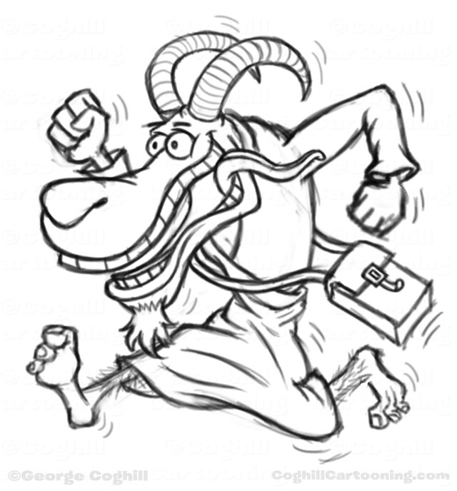 Running goat man with vagabond cloak and satchel. Cartoon Character Sketch by George Coghill