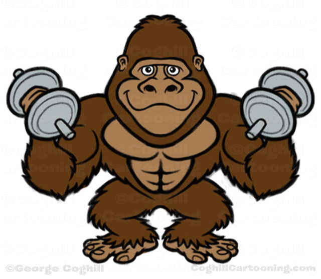 Bodybuilder Gorilla Cartoon Character sketch