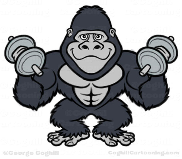 Bodybuilder Gorilla Cartoon Character black