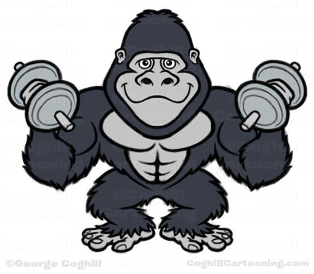 Bodybuilder Gorilla Cartoon Character black