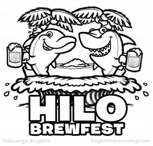 Dolphin shark beer cartoon character logo Hilo Brewfest sketch