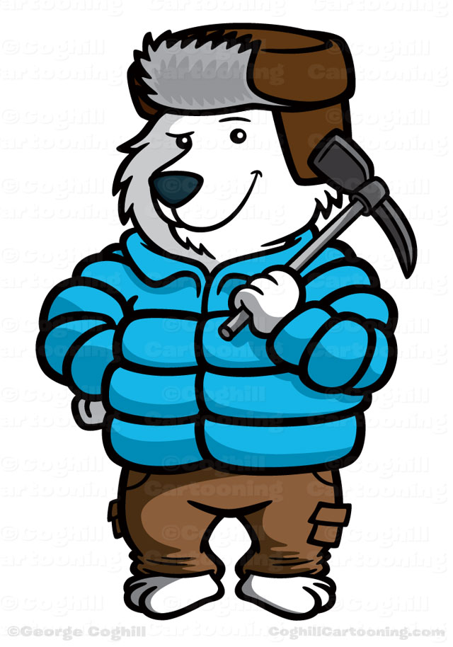 Polar bear mountain climber cartoon character for Polarthemes