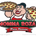 Pizza shop cartoon logo woman holding pie & slice for Momma Roza's Pizza Heaven