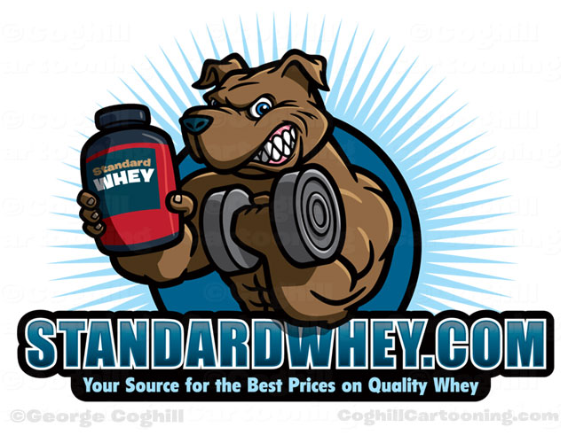 Weightlifter muscular dog cartoon logo
