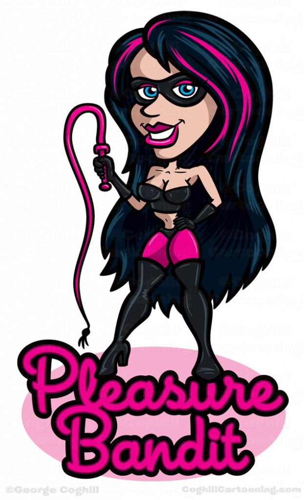 Pleasure Bandit Fetish Woman with Whip Cartoon Logo