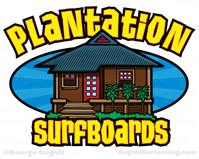 Plantation Surfboards Surf Shop Cartoon Logo
