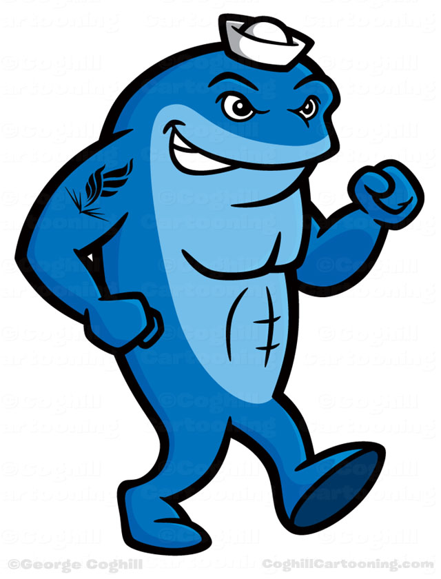 neomed university walking whale cartoon mascot character