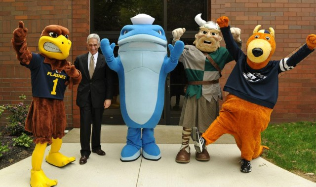 From left: Kent State Golden Flash, some old guy, NEOMED Walking Whale, Cleveland State Viking, Hiram Terrier.
