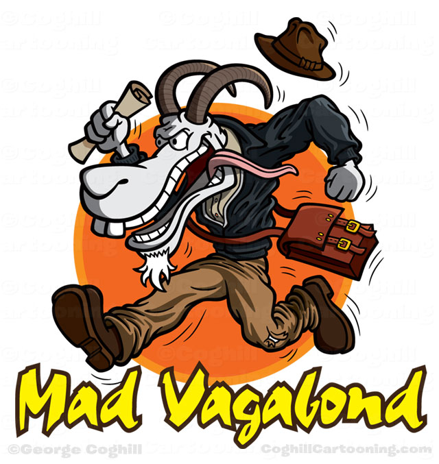Adventurer goat cartoon logo for Mad Vagabond