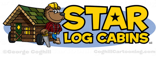 Lumberjack bear with log cabin cartoon logo