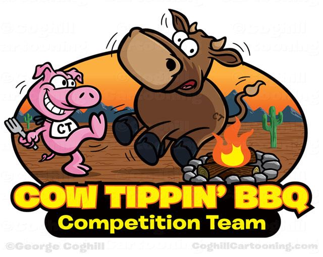 Pig cow tipping cartoon logo.