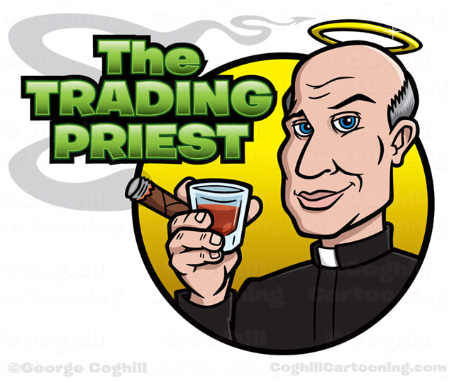 Priest with halo, cigar & whiskey cartoon logo for Trading Priest