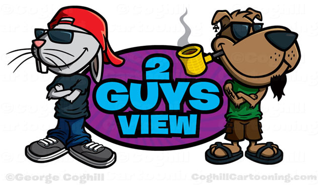 Rabbit & dog cartoon logo for 2 Guys View