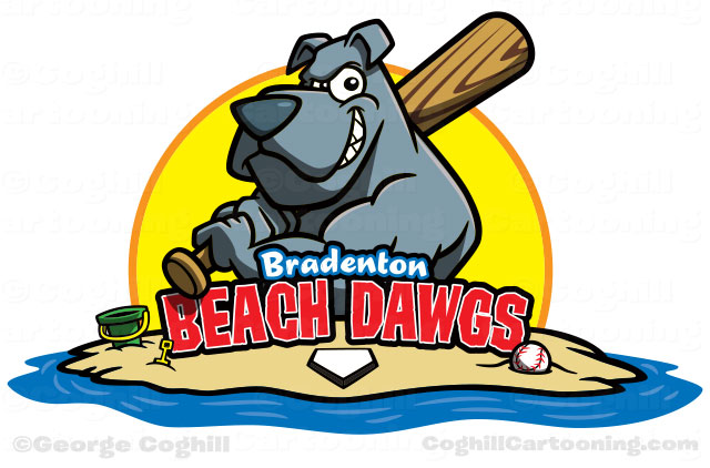 Dog with baseball bat for team cartoon logo Bradenton Beach Dawgs