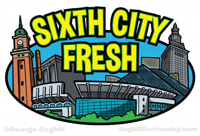 Cleveland skyline landmarks cartoon logo Sixth City Fresh