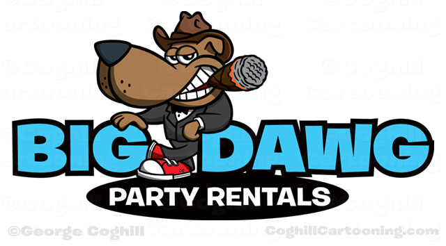 Cartoon dog cowboy hat cigar sneaker logo for Big Dawg Party Rentals