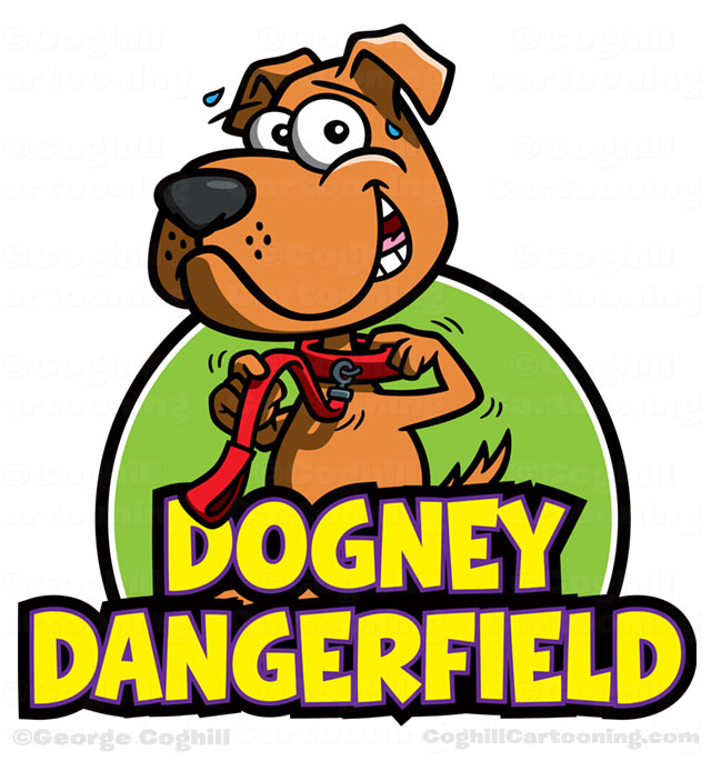 Dog walking service cartoon logo Dogney Dangerfield