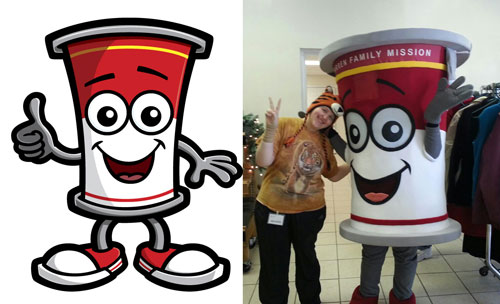 Soup can mascot cartoon character costume.