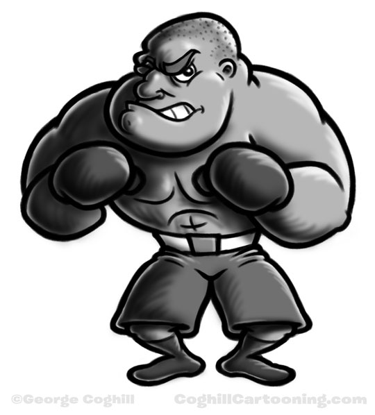 Boxer cartoon character sketch by George Coghill.
