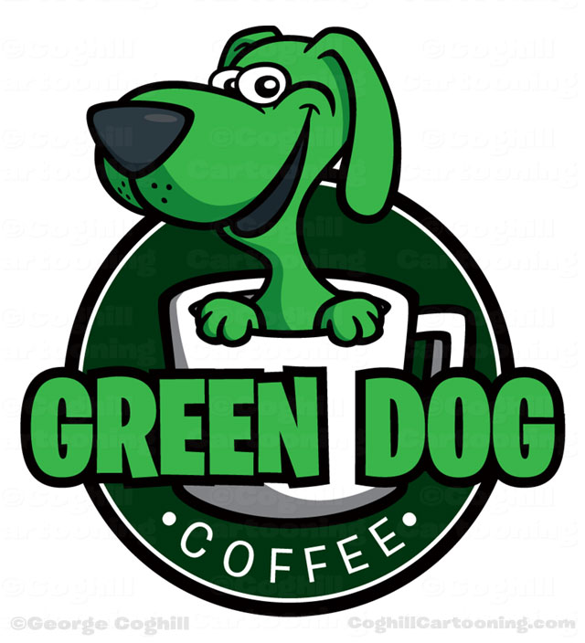 Green Dog Coffee cartoon logo by George Coghill