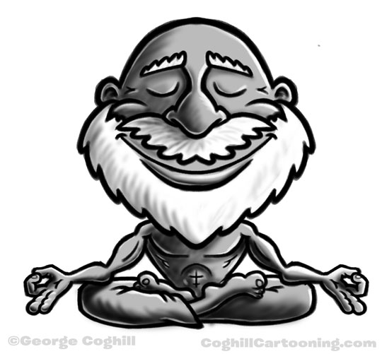 Meditating guru cartoon character sketch by George Coghill.