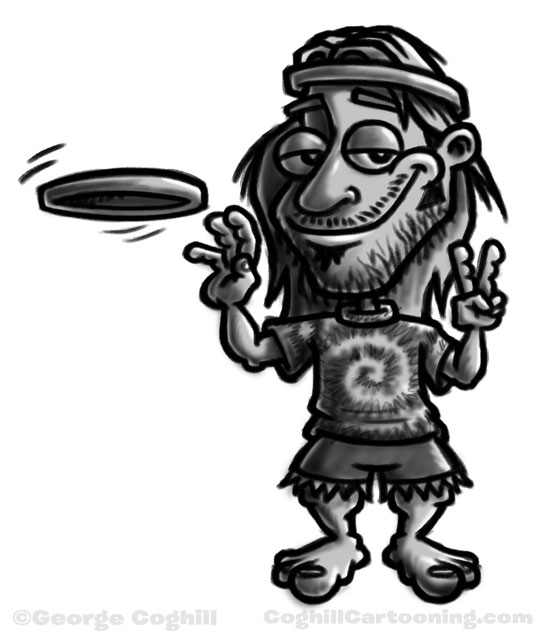 Hippie with frisbee cartoon character sketch by George Coghill.