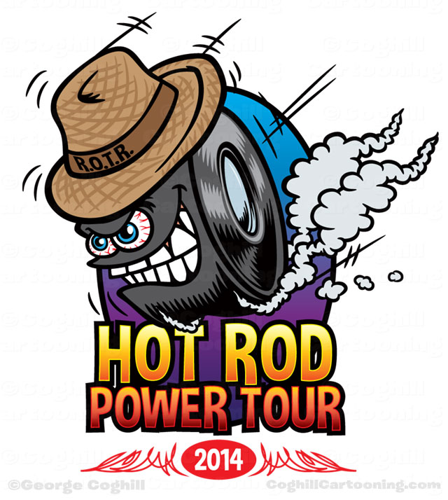 Hot Rod Power Tour big wheel cartoon logo by George Coghill.