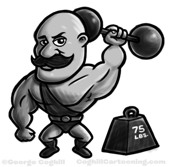 Strongman cartoon character sketch by George Coghill.
